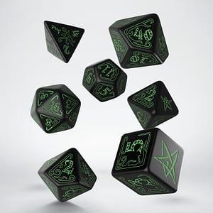 Dados Llamada de Cthuhu Negros-verdes