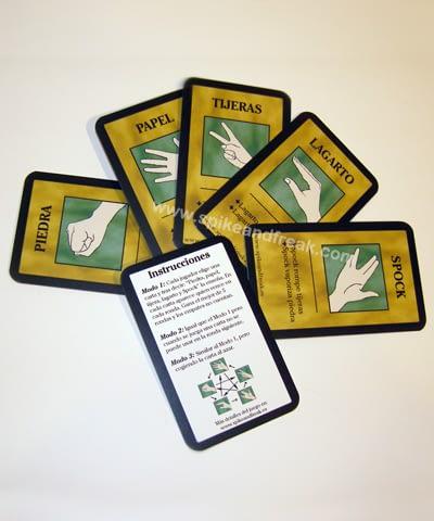Cartas Piedra, papel, tijeras, lagarto y Spock.