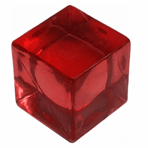 cubo transparente rojo