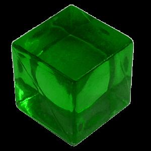cubo transparente verde